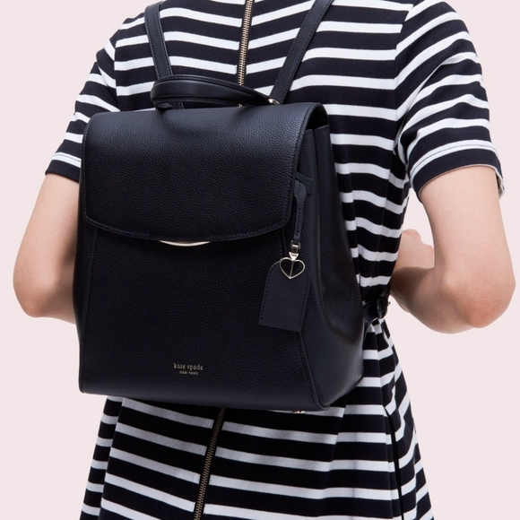 Kate Spade Grace Black Pebbled Leather Backpack